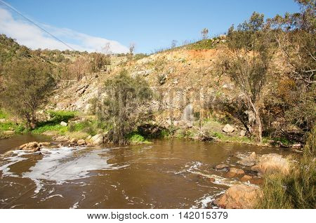 Lush and rocky riverbanks at the Bell Rapids of the Swan and Avon River intersection in the Swan Valley in Western Australia.