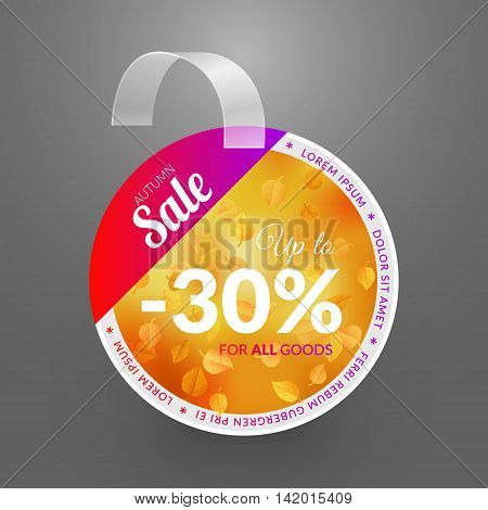 Wobbler design template. Autumn sale event. Vector illustration yellow leaves.