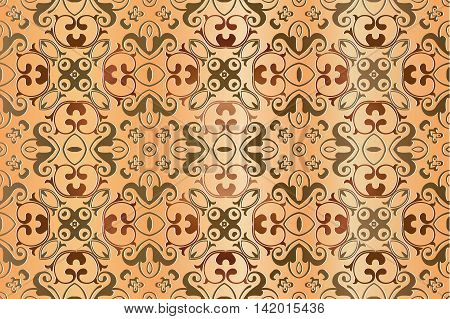 abstract seamless floral decor element openwork embossed interlocking lines symmetrical shapes on a light background