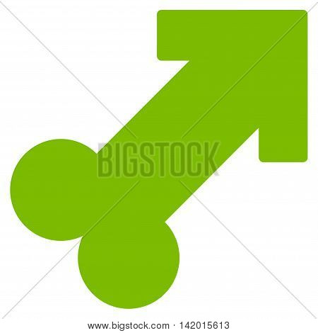Male Sexual Symbol vector icon. Style is flat symbol, eco green color, rounded angles, white background.