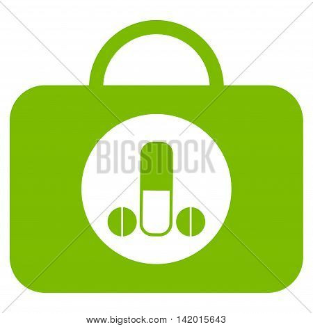 Male Sexual Toolbox vector icon. Style is flat symbol, eco green color, rounded angles, white background.