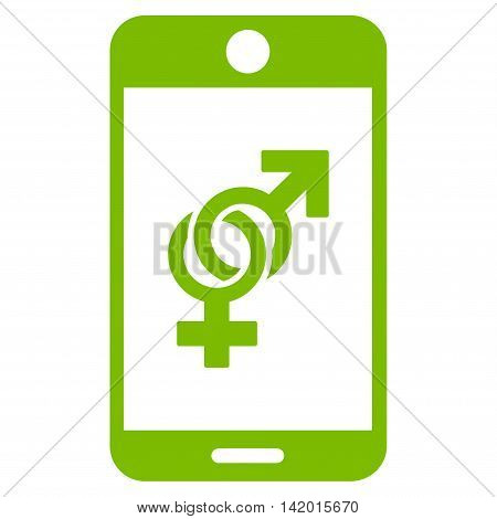 Mobile Dating vector icon. Style is flat symbol, eco green color, rounded angles, white background.
