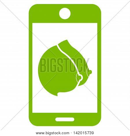 Mobile Erotic Tits vector icon. Style is flat symbol, eco green color, rounded angles, white background.