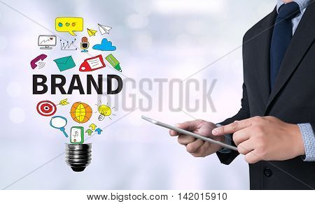 BRAND Businessman use a tablet computer business man work