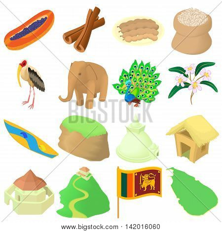 Cartoon Sri lanka icons set. Universal Sri lanka icons to use for web and mobile UI, set of basic Sri lanka elements isolated vector illustration