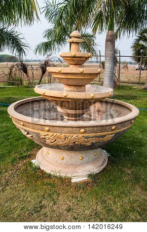 Big fountain in the park at Thai garden