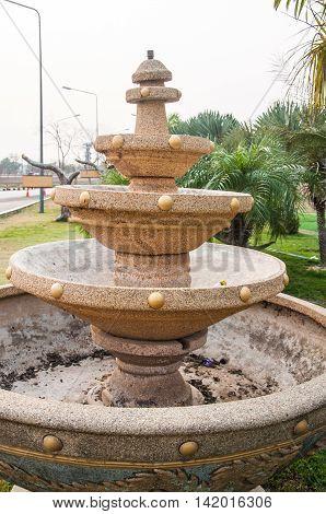 Big fountain in the park in Thai garden