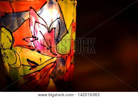 abstract background pattern stained paint on a candlestick closeup macro