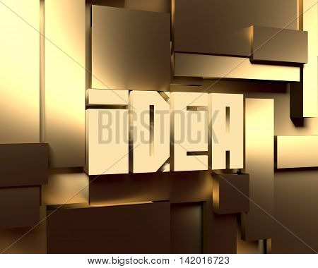 Shiny brushed metal tiles. Golden metallic material. 3d rendering. Idea text