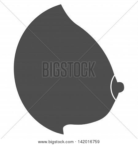 Female Tit vector icon. Style is flat symbol, gray color, rounded angles, white background.