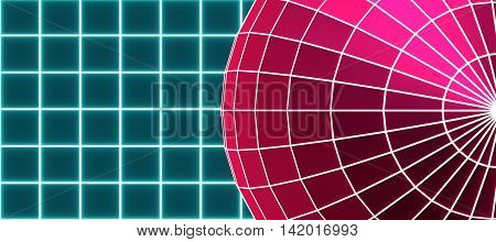 Gridded wireframe red sphere on blue background. White lattice. 3d rendering