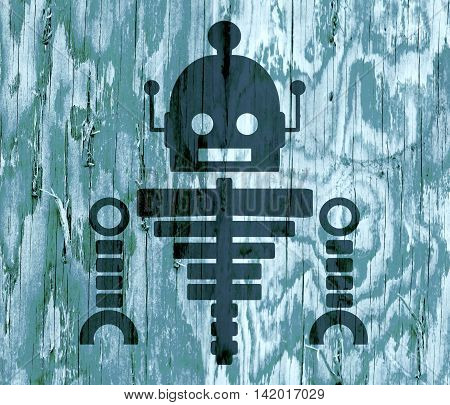 Cute vintage robot skeleton. Robotics industry relative image. Silhouette on wood textured backdrop