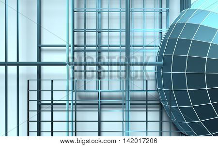 Gridded wireframe sphere on blue background. White lattice. 3d rendering.