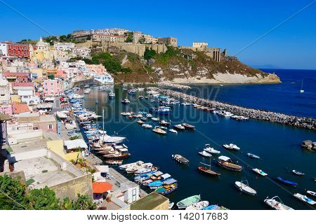 Summer seascape from the isle of Procida italy