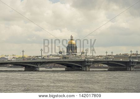 Neva River in St. Petersburg a beautiful view of the bridges and embankments of the city
