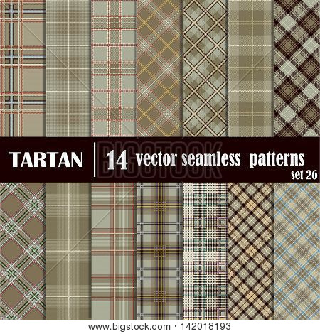 Vector set seamless tartan pattern. Lumberjack flannel shirt inspired. Plaid trendy hipster style backgrounds. Suitable for decorative paper fashion design home and handmade crafts.
