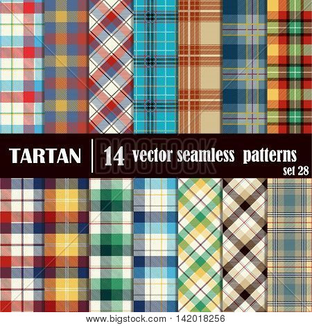Set Tartan Seamless Pattern. Traditional Scottish Ornament. Tartan Plaid Inspired Background. Seamless Samples for Background, Suitable for Christmas and New Year. Trendy Vector  Illustration.