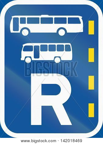 Road Sign Used In The African Country Of Botswana - Reserved Lane For Buses And Midi-buses