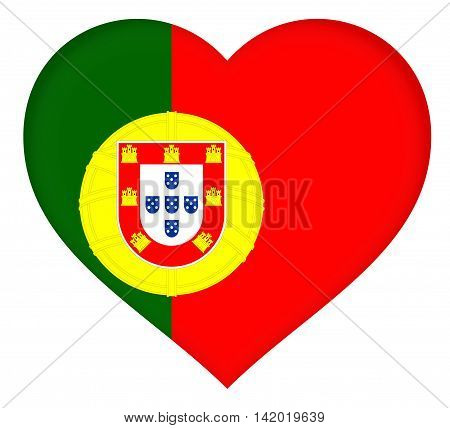 Illustration of the National lag of Portugal shaped like a heart.