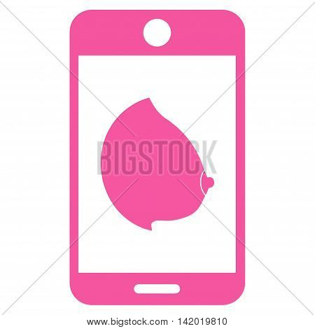 Mobile Erotic Tit vector icon. Style is flat symbol, pink color, rounded angles, white background.