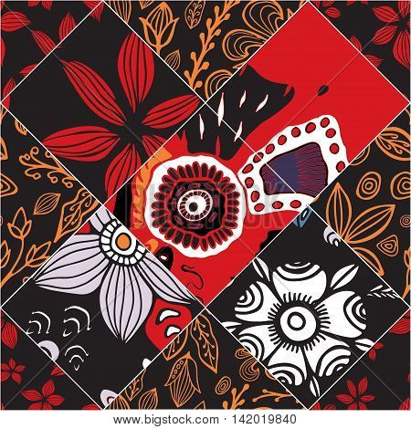 stock vector floral seamless doodle pattern. decorative element.Red patchwork design
