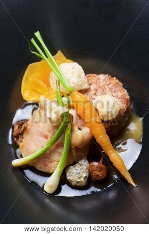 Trotters lamb with vegetables.