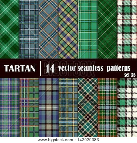 Set tartan seamless pattern in green colors. Lumberjack flannel shirt inspired. Seamless tiles. Trendy hipster style backgrounds. Suitable for decorative paper fashion design home and handmade crafts.