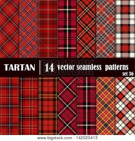 Set tartan seamless pattern in red colors. Lumberjack flannel shirt inspired. Seamless tartan tiles. Trendy hipster style backgrounds.