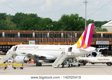 BERLIN, GERMANY - JUNE 22, 2016: Eurowings, Germanwings airplane. Eurowings is a subsidiary of the Lufthansa Group, low-cost flights.
