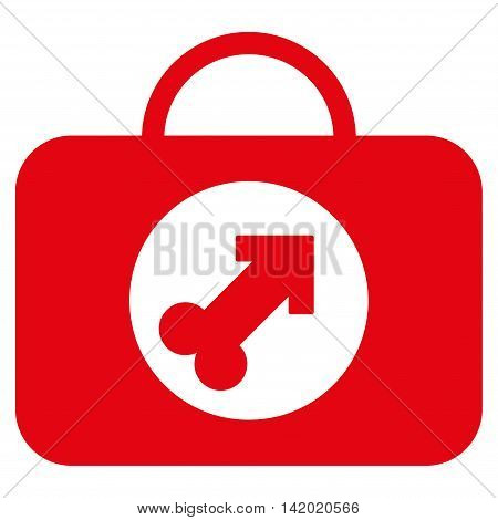 Male Erection Case vector icon. Style is flat symbol, red color, rounded angles, white background.