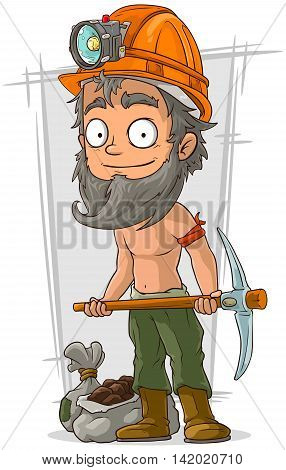A vector illustration of cartoon bearded digger with coal in helmet