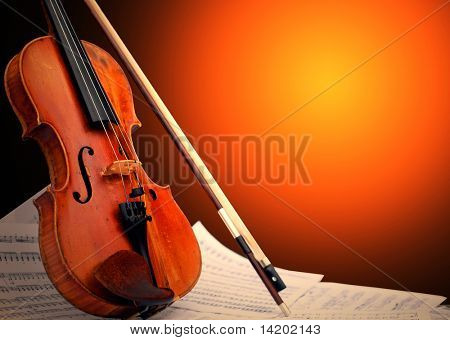 Musical instrument - violin and notes
