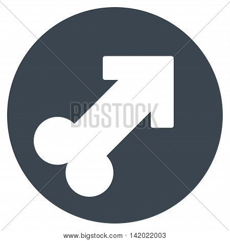 Erection vector icon. Style is flat symbol, smooth blue color, rounded angles, white background.
