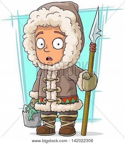 A vector illustration of cartoon eskimo boy with spear and fish