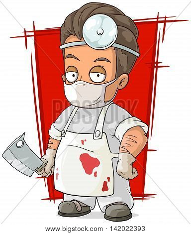 A vector illustration of cartoon evil surgeon in white mask