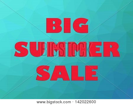 Big summer sale discount banner with red letters on polygonal blue teal gradient background.