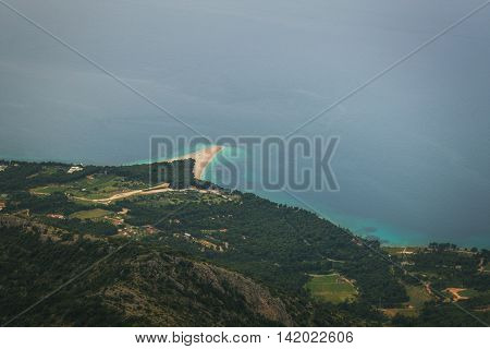 Zlatni Rat Beach on Brac Island viewed from Mountain Vidova Gora, Croatia