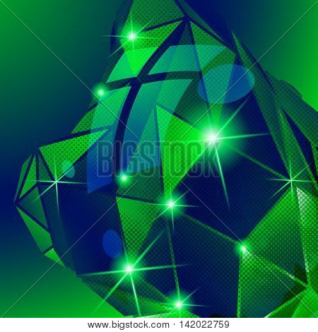 Contemporary green background dot textured dimensional distorted template.
