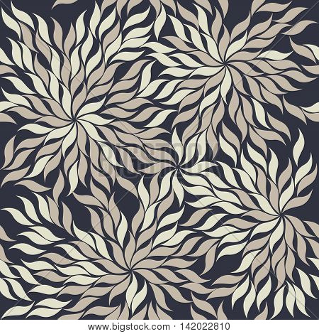 Contrast seamless pattern with abstract flowers and leaves. Seamless background can be used for design fabric, backgrounds, wrapping paper ,package, covers
