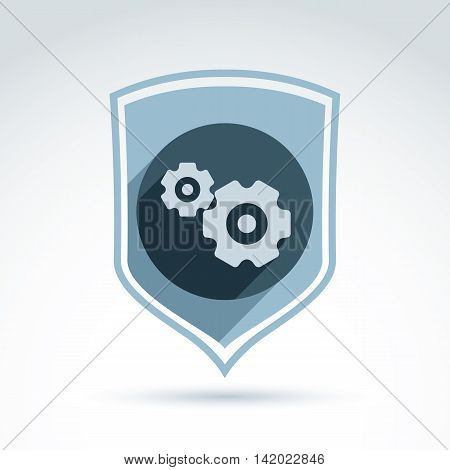 Cog-wheels and gears placed on a shield manufacturing process security icon. Business and engineering idea.