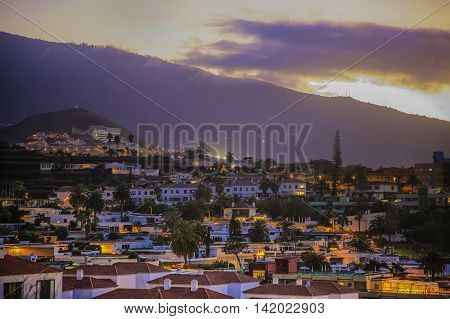 Small Town In Tenerife Under A Volcano At The Sunset