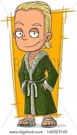 A vector illustration of cartoon handsome blond guy in bathrobe