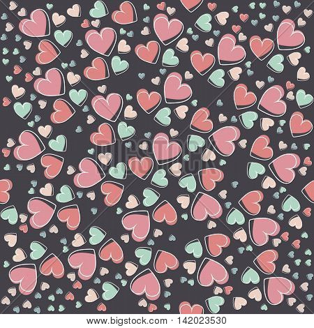 Contrast seamless pattern with hearts.