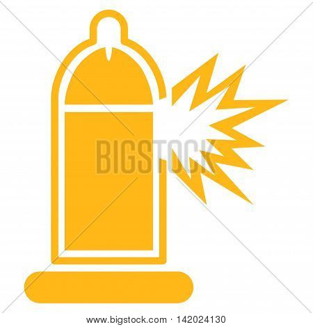 Damaged Condom With Penis vector icon. Style is flat symbol, yellow color, rounded angles, white background.