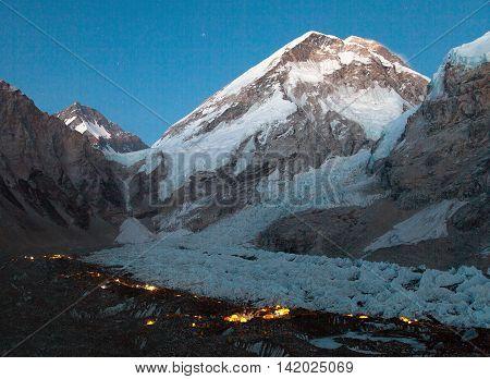 Nightly panoramic view of Mount Everest base camp Everest Khumbu glacier Sagarmatha national park Nepal