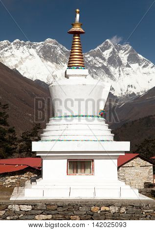 Stupa Lhotse and top of Everest from Tengboche monastery with beautiful sky - Way to Everest base camp Sagarmatha national park Khumbu valley Nepal