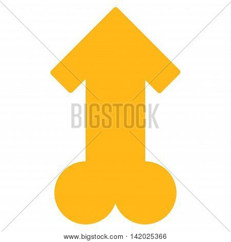 Male Sexual Potence vector icon. Style is flat symbol, yellow color, rounded angles, white background.
