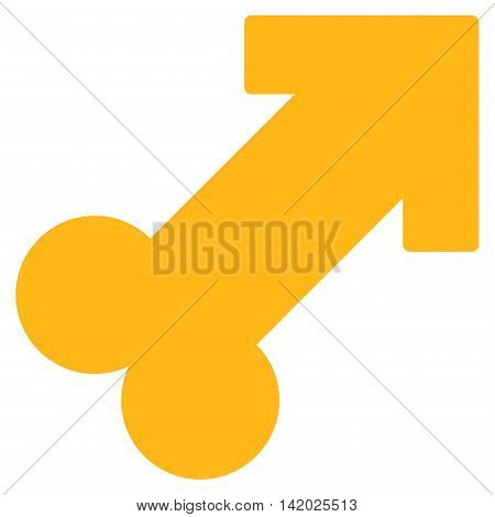 Male Sexual Symbol vector icon. Style is flat symbol, yellow color, rounded angles, white background.