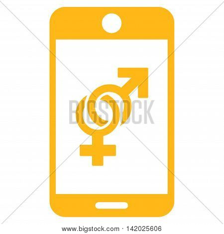 Mobile Dating vector icon. Style is flat symbol, yellow color, rounded angles, white background.