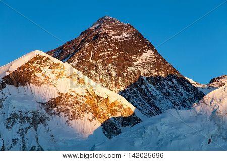 Evening colored view of Mount Everest from Kala Patthar Khumbu valley Solukhumbu Sagarmatha national park Nepal